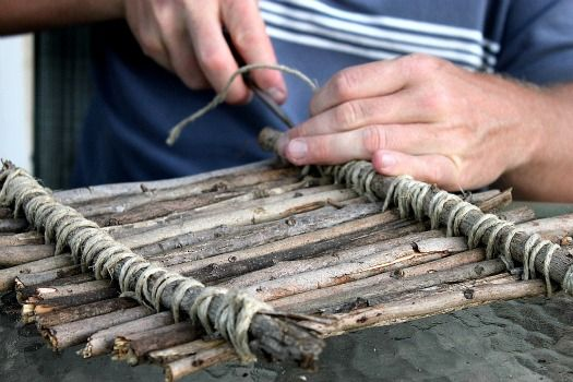 """Make a stick raft - man I made hundreds of these as a kid (not so """"pretty"""") gonna make another someday!!"""
