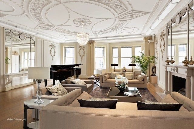 Peek Inside The Apartments Of New York's 1% #refinery29 http://www.refinery29.com/luxury-apartments-nyc-home-tours#slide-23 The luscious living room features authentic plaster moldings, gilded mirrors, and dormer windows with generous views of the park. ...
