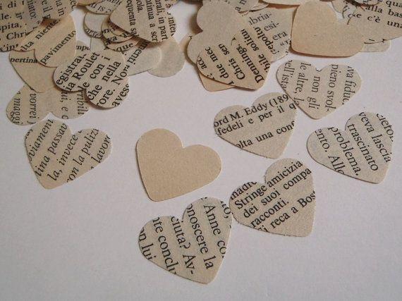 280 vintage coriandoli cuori carta libri italiano nozze matrimonio decorazione tavola diy riciclato scrapbooking decoupage lasoffittadiste