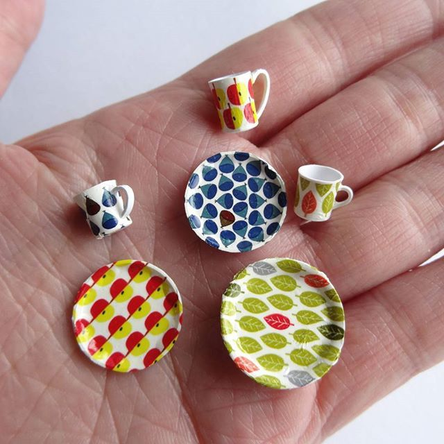 ~北欧~はじめます #ミニチュア#miniature#北欧#雑貨#食器#カップ#cup#プレート#plate#ハンドメイド#handmade#ドールハウス#dollhouse