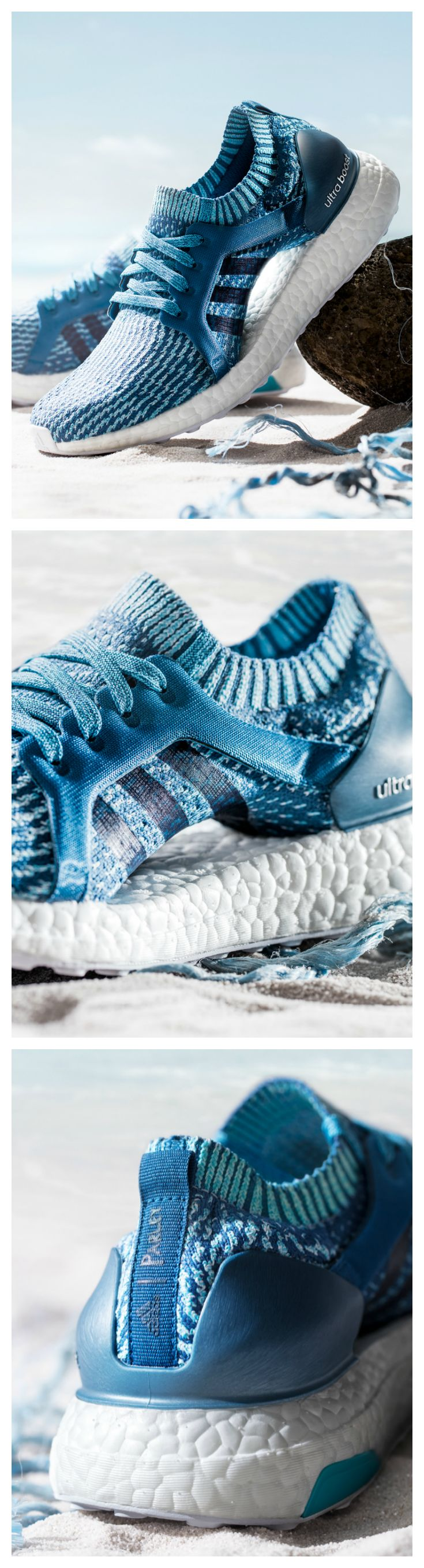 Cushioned comfort. Sustainable style. The adidas Ultra Boost X Parley — made from recycled plastic — is available now.