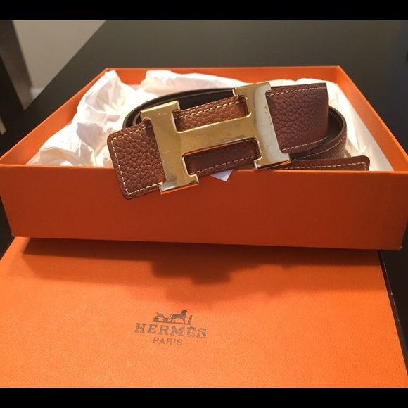 Authentic Hermes belt Used a few times until having kids and didnt fit anymore. Length is 80cm. Leather is in excellent condition but the buckle has a few scratches as seen on picture. Comes with pouch and original box. No trades just wanting to sell. Hermes Accessories Belts