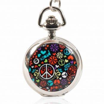 """Montre sautoir à gousset au symbole """"Peace and Love"""
