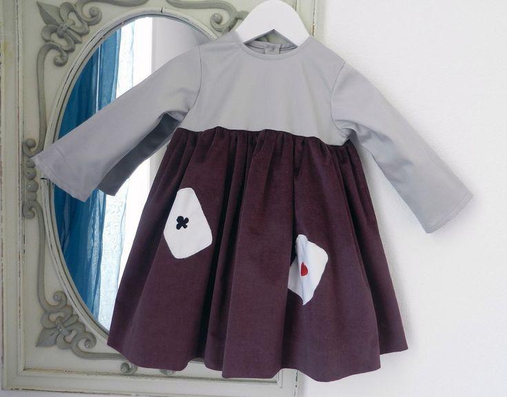 Duchesse or ange robe bebe velours grenat satin de coton gris cartes baby dress velvet purple grey