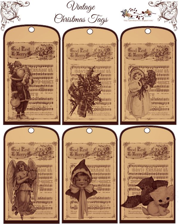 Free-printable Vintage Christmas Tags