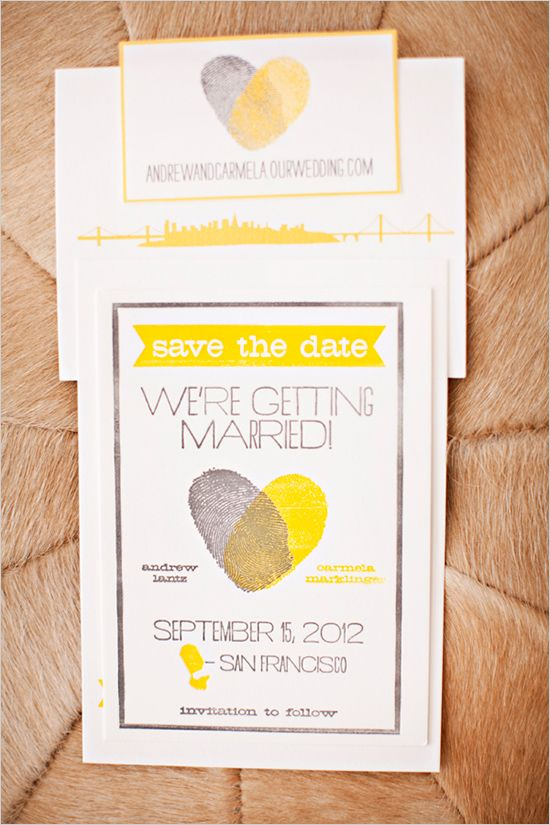 Grey and Yellow Thumbprint wedding invitations and lots more inspiration