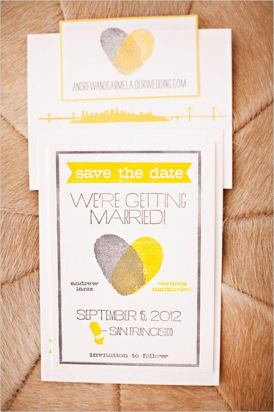 Grey and Yellow Thumbprint wedding invitations and lots more inspiration