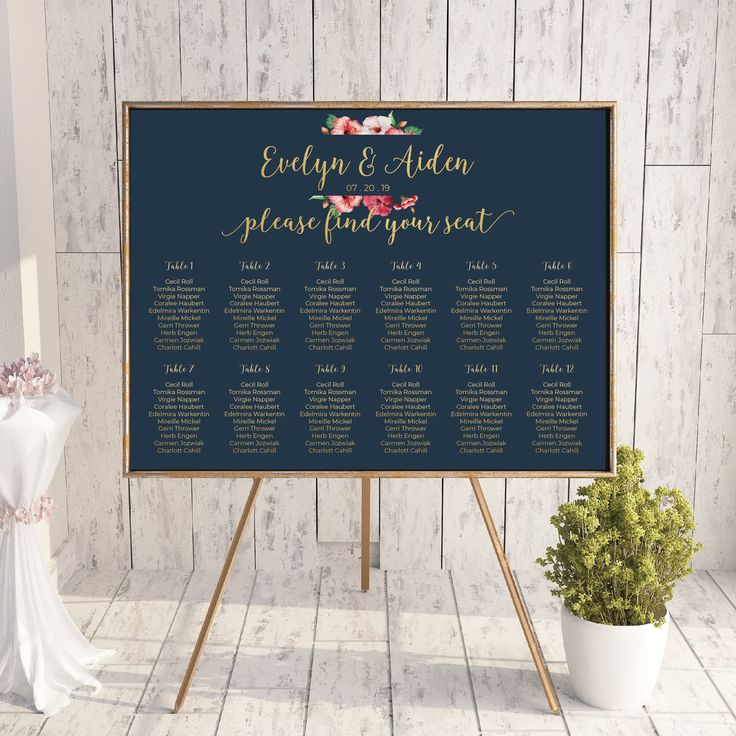 Printable Wedding Seating Chart Watercolor Floral Wedding Table Seating Plan Calligraphy Wedding Stationery Printable Wedding Faux Gold Foil by OnionSisterCreative on Etsy