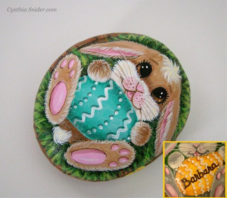 Painted rock,Easter bunny,Painted stone,Easter egg,Easter rabbit,custom Easter egg,personalized Easter egg,Easter basket,colored egg,Easter by NightOwlFineArt on Etsy