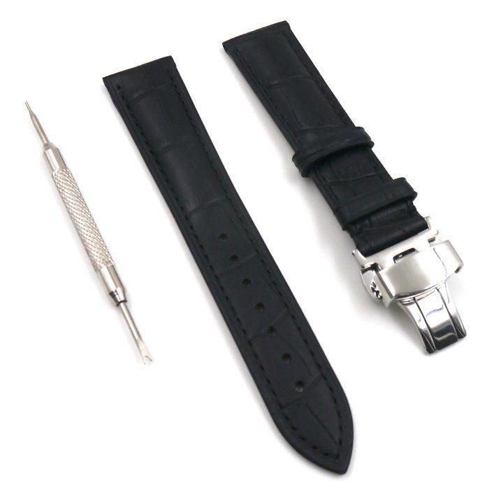 [ネクストジー]NextZ 時計ベルト レザー ワンプッシュ Dバックル ( ブラック 20mm )