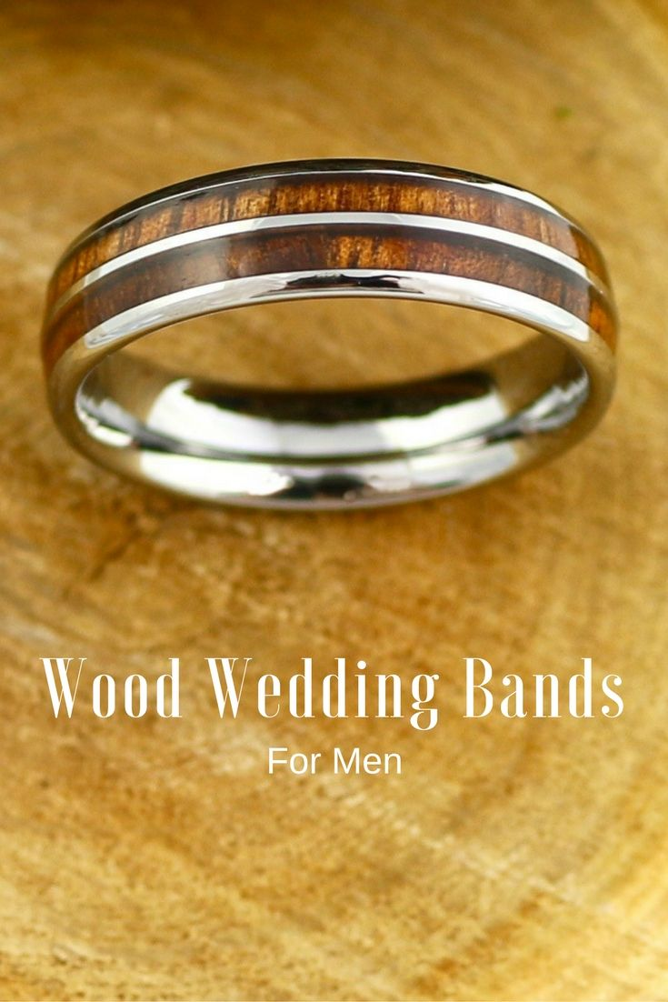 wood wedding bands mens wedding rings wood 6mm Tungsten Carbide Ring with a Koa Wood Inlay