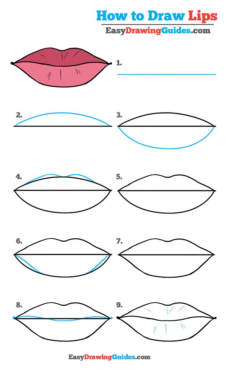 How to draw easy lips