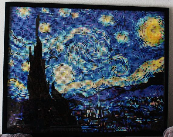"Perlerized Starry Night. This specific picture consists of approximately 17,000 perler beads. The dimensions of this framed picture shown above are 22"" x 28"". By SandCbeadworks on Etsy"