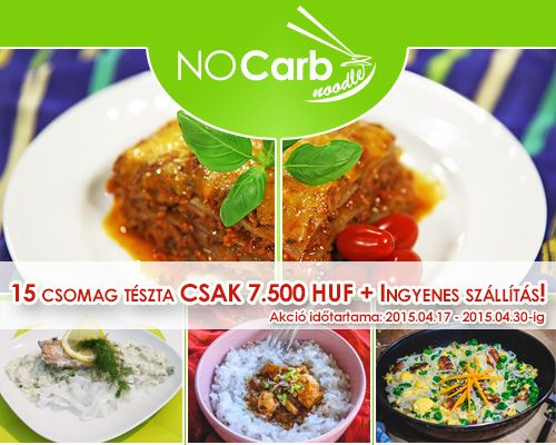 Tavaszi NoCarb Noodle akciós tésztacsomag! 15 db tészta csupán 7.500 HUF + INGYENES csomagküldés 2014.04.30-ig!   Klikk a képre további részletekért/rendelésért!