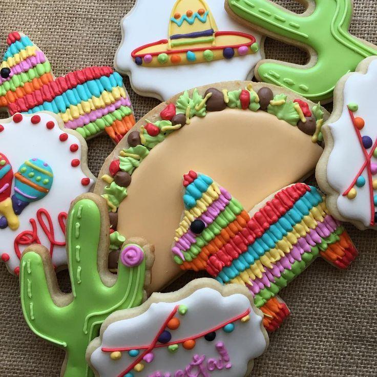 Fiesta cookies, taco cookies, pinata cookies, burro cookies, sombrero cookies, cactus cookies #sugarcookiewhimsy