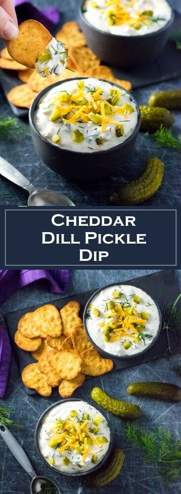 Cheddar Dill Pickle Dip Recipe - Party Appetizer via @foxvalleyfoodie