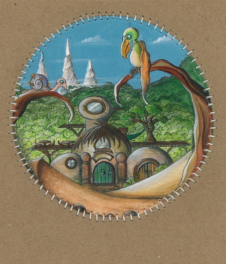 Fantasy art,cartoon bird,circular painting by Traci Howard feythcrafts