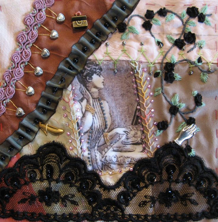 I ❤ crazy quilting, beading & embroidery . . . Victorian Ladies DYB - Round Four- This is the block that I chose to work for Hideko. She asked us to keep to a Goth type theme for this project. Everyone has done such a nice job with these blocks. We don't often get a chance to work with much black lace and ribbon, which I LOVE. So, this block was a bit of a treat! ~By Gerry Hookstra