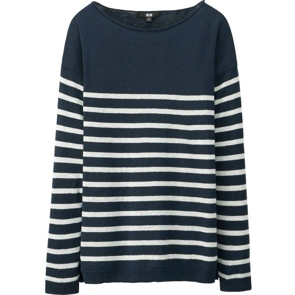 UNIQLO Premium Linen Striped Sweater ($14) ❤ liked on Polyvore featuring tops, sweaters, navy, striped sweater, striped boatneck sweater, boat neck tops, uniqlo sweaters and navy blue tops