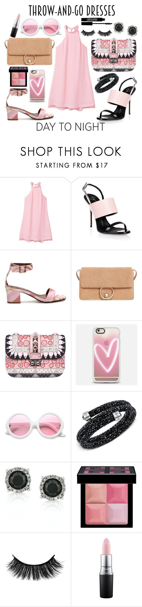"""pink trapeze dress day to night"" by kc-spangler ❤ liked on Polyvore featuring MANGO, Giuseppe Zanotti, Valentino, Casetify, ZeroUV, Swarovski, Mark Broumand, Givenchy, MAC Cosmetics and Lord & Berry"