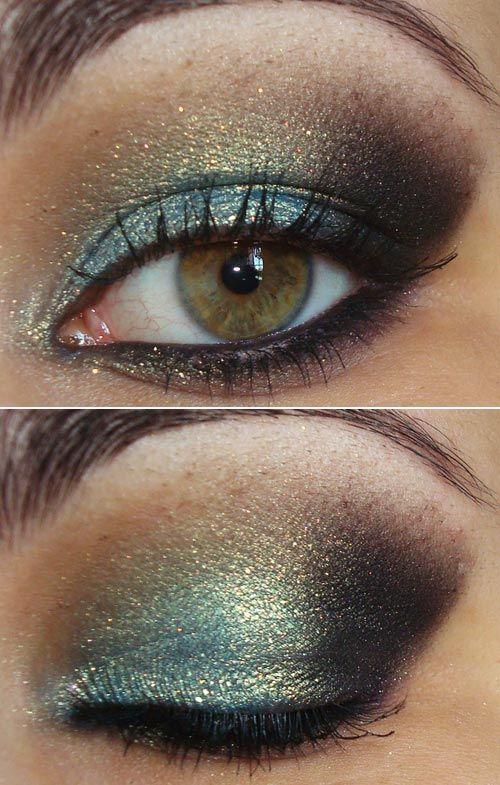 make metalizado • esfumado metalizado • verde, dourado marrom