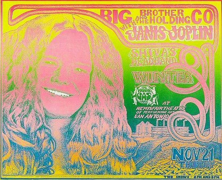 November 22nd,1968 Big Brother And The Holding Company With Janis Joplin, Along With Shiva's Headband & Winter Performed At The Hemisfair Theater Of Performing Arts, In San Antonio, Texas. Poster Art By Vulcan Gas Company