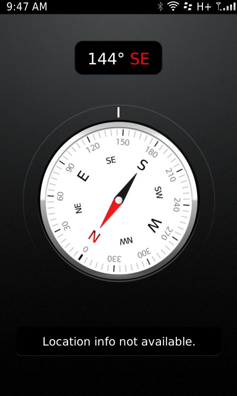 Blackberry has joined the list too. Here's a screenshot of a Blackberry's built-in compass.