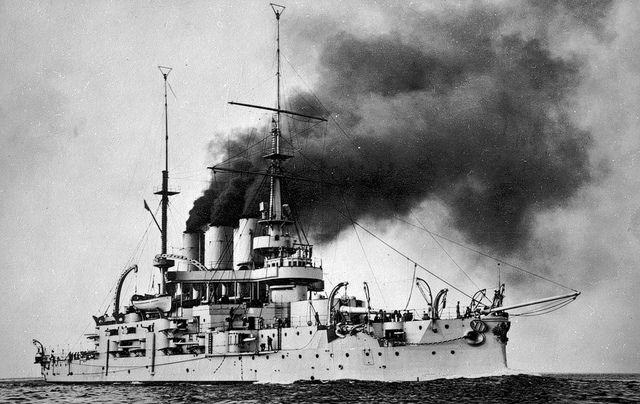 The Battleship Potemkin underway in 1906  |  The Potemkin was a pre-dreadnought battleship of the Imperial Russian Navy's Black Sea Fleet. The ship was made famous by the Battleship Potemkin uprising, a rebellion of the crew against their oppressive officers in June 1905 (during the Russian Revolution of 1905) and was later the basis of Sergei Eisenstein's silent film The Battleship Potemkin (1925).  The ship was finally scrapped by the Soviets in 1923.