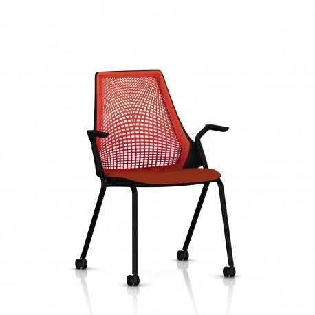 Sayl Side Chair Herman Miller Noir / 4 Pieds - Roulettes / Dossier Suspension Red / Assise Tissu Panama