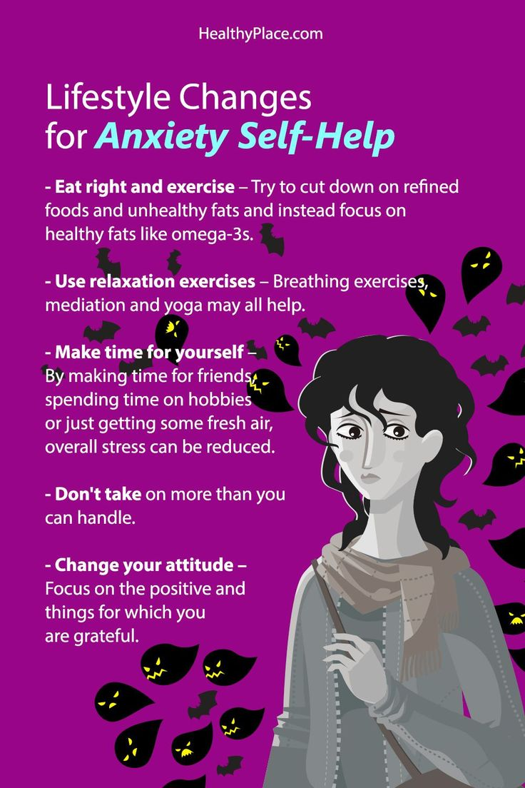 """""""Anxiety self-help includes education, lifestyle changes and support. Self-help for anxiety can complement other treatments. Learn ways to help anxiety."""" www.HealthyPlace.com"""