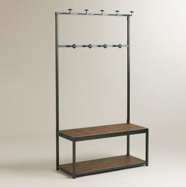 entryway bench with hooks can serve as a home to the copious amounts of handbags, scarves or ties many of us own.