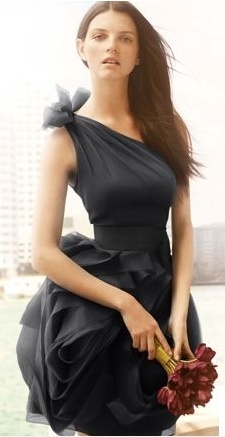 VERA WANG One Shoulder Organza Dress Cocktail Wedding Bridesmaid Gown Black 2 | eBay On auction starting at $0.99 with NO RESERVE!