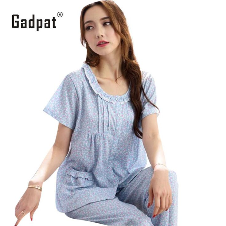 Gadpat 2017 Summer Sleep Wear Set Nightwear Cotton 95% Women Pyjama Set Big Size Womens Clothing Homewear #Affiliate