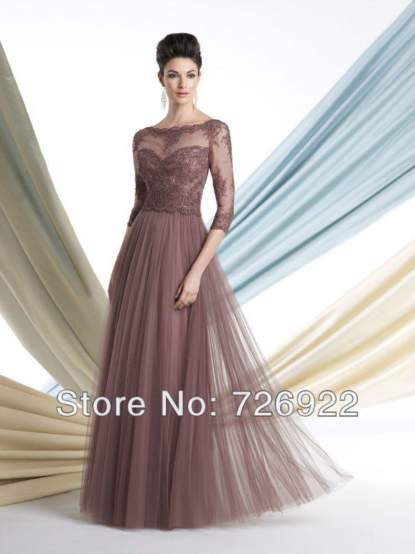 Chegada Nova Longa Plus Size Tulle Appliqued Lace frisada Mãe dos vestidos de noiva com mangas Frete Grátis 139.00