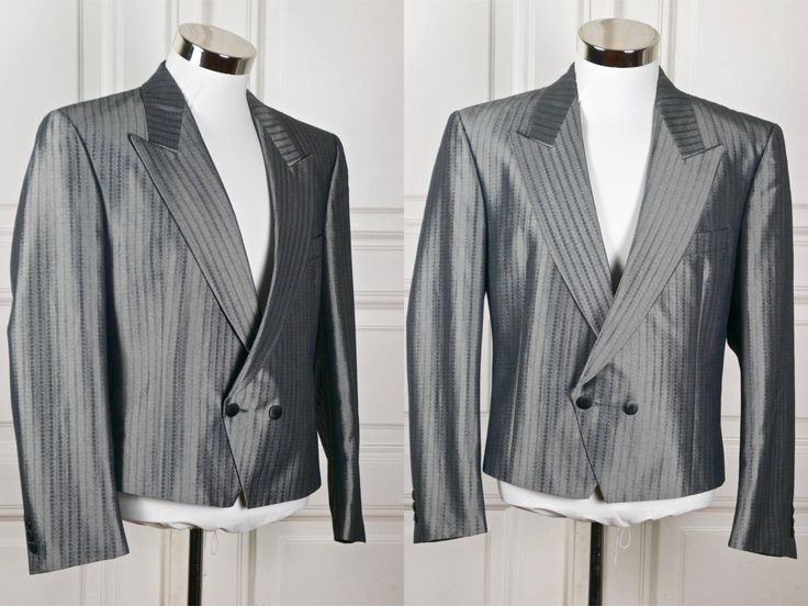Dutch Vintage Silver Short Tuxedo Jacket, European Double-Breasted Cropped Tux Blazer w Peaked Collar, Silver Metallic Blazer: Size 38 US/UK by YouLookAmazing on Etsy