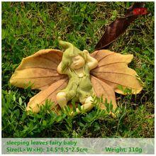 ED original design leaf fairy angel figurine baby outdoor statue/Miniature fairy garden ornament Christmas decoration for home
