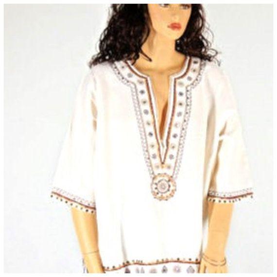 Plus size tunic top linen / rayon kaftan top by SunnyBohoVintage