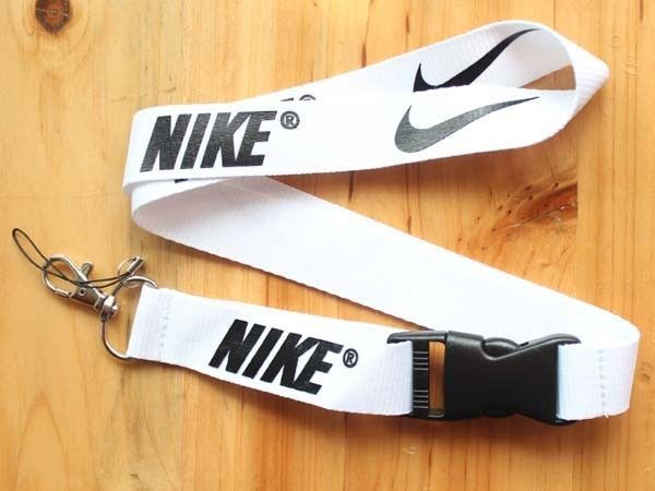Nike Lanyard Key Chain ID Strap White Black ☆FREE USA SHIPPING ☆NEW