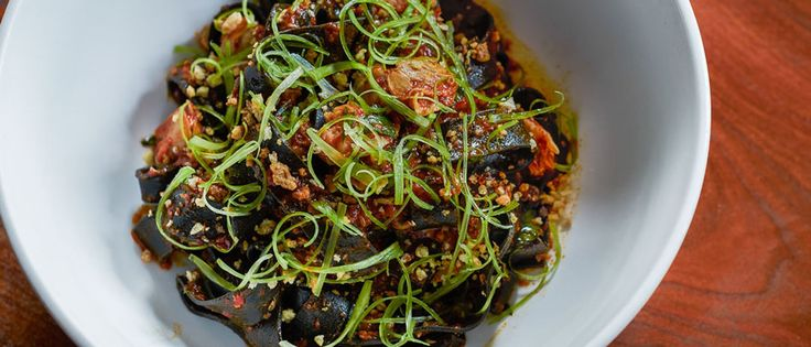 Squid Ink Pasta with Ndjua, Clams and