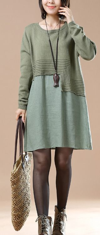 Green new patter knit sweaters plus size knit dresses woman