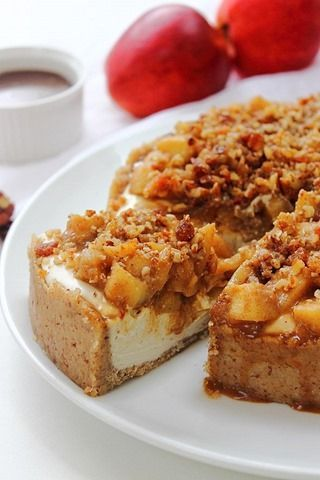 Caramel Apple Paleo Cheesecake #glutenfree