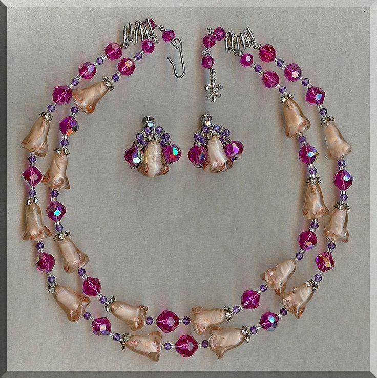 RARE Vendome Pink Art Glass Tulip, Crystal & Rhinestone Necklace-Earring Set...