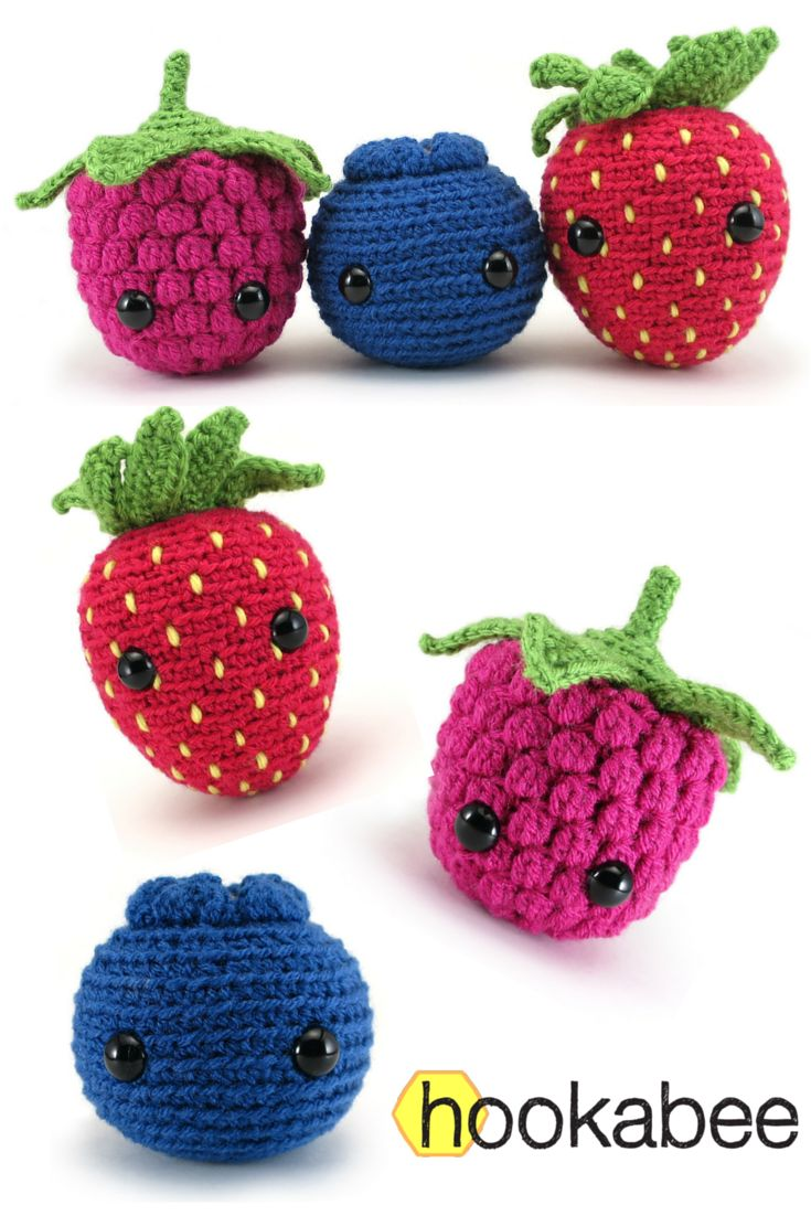 How cute are these little berries?? The Very Berry Trio amigurumi patterns - ebook available for a wee fee via Hookabee. Source - http://ift.tt/29oVKYk