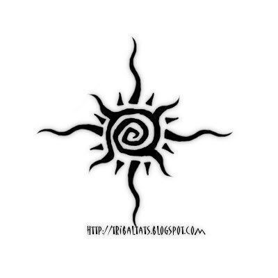 Awesome And Small Tribal Sun Tattoo Sample