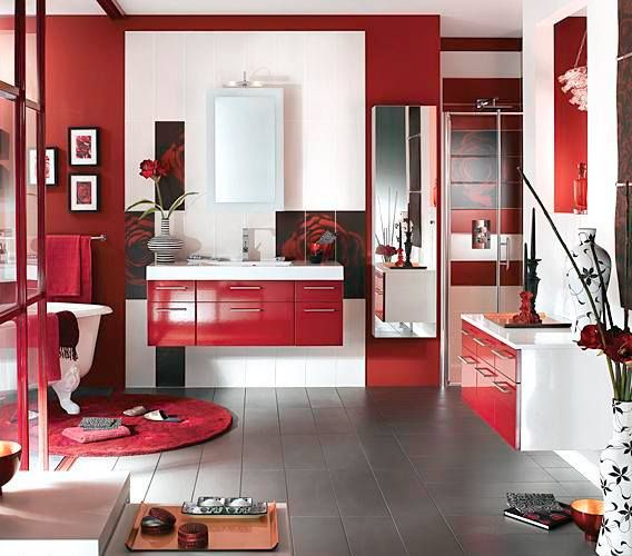 bathroom ideas red, black, silver, grey and white color scheme