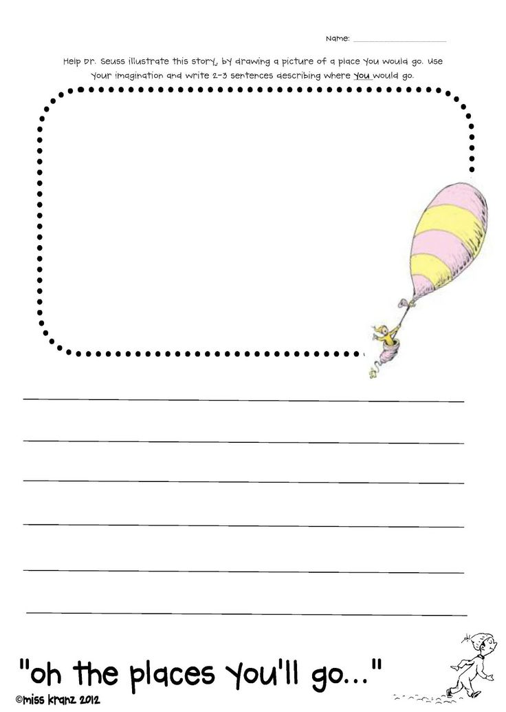 Dr. Seuss First Grade Worksheets | oh the places you'll go writing paper