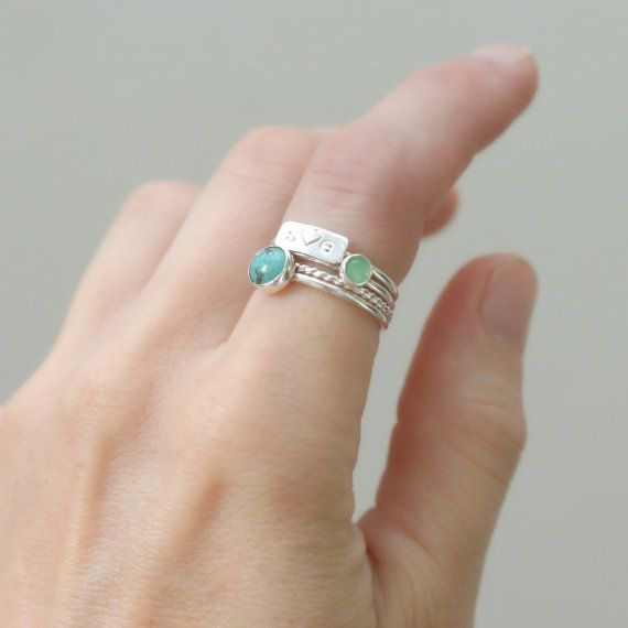 personalized ring SET. silver turquoise by MeadowbelleMarket