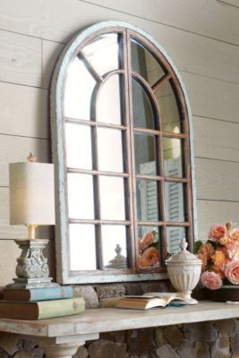 Jardin Mirror I - Wood Frame Mirror, Antique Finish, Home Accents | Soft Surroundings for above mantle.
