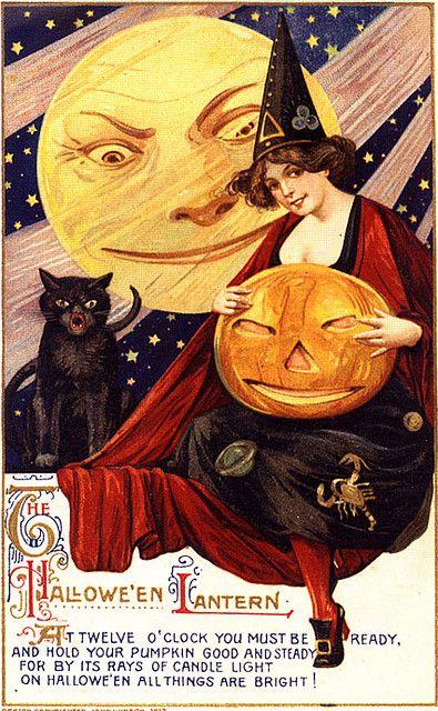 Scarce.! schmucker,lovely witch,jol lantern,evil moon,,winsch halloween postcard