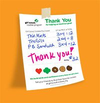 Girl Scout Cookies and Learning Life Skills cookie invoices/thank you letters, signs, etc.